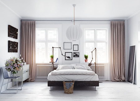 현대적인 스칸디나비아 스타일 침실. 3d 개념 렌더링