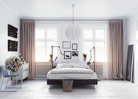 modern scandinavian style bedroom . 3d concept rendering