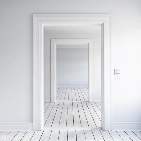 Open huisdeur interieur. 3D render