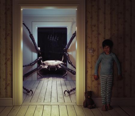 아이 방에있는 괴물. 3d 그림 및 사진 요소 개념