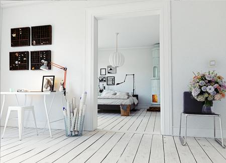클래식 스웨덴어 스토브와 현대 아파트입니다. 3d 개념 렌더링 스톡 콘텐츠