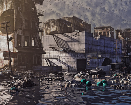 洪水都市の遺跡。終末論的な landscape.3d の図の概念
