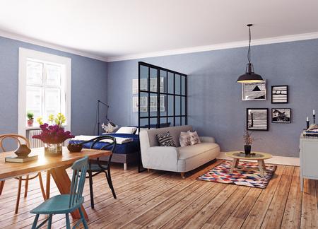 モダンなアパートメントです。北欧デザイン スタイルです。3 d レンダリング図コンセプト