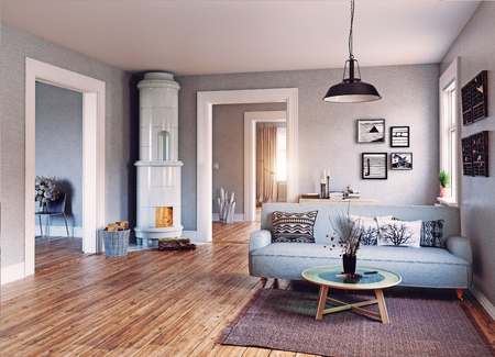 The Modern interior. Scandinavian design style. 3d rendering illustration concept