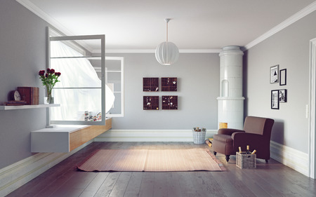 Modern living room interior. Beautiful window view zone.3d rendering design