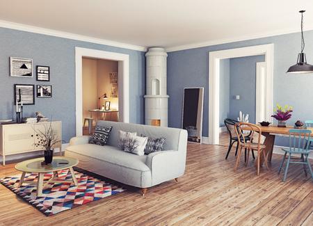 현대 아파트. 스칸디나비아 디자인 스타일. 3d 렌더링 그림 개념