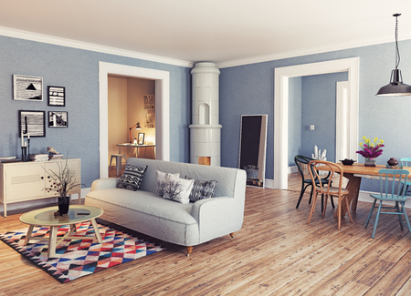 Modern apartment. Scandinavian design style. 3d rendering illustration concept