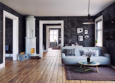 The Modern interior. Scandinavian design style. 3d rendering illustration concept Imagens - 87794340