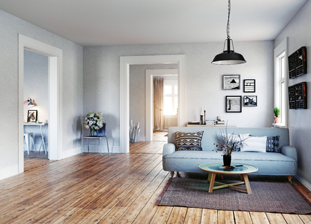 C. 스칸디나비아 디자인 스타일. 3d 렌더링 그림 개념