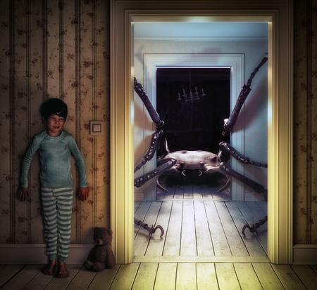 Monster in de kinderkamer. 3D illustratie en foto elementen concept Stockfoto