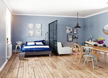 モダンなアパートメントです。スカンジナビアのデザインスタイル。3d レンダリングのイラストレーションコンセプト