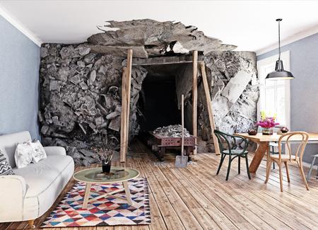 거실 내부의 광산 입구. 3d 렌더링 그림 개념