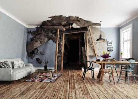 de ingang van de mijn verwoestte het interieur. 3d teruggevend illustratieconcept Stockfoto