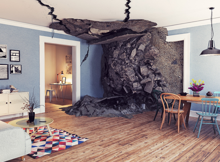 Modern interior and destroyed floor and ceiling. 3d rendering illustration concept