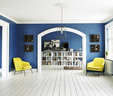 Het moderne interieur. Scandinavische stijl. 3d teruggevend illustratieconcept Stockfoto