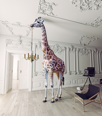 the giraffe hold the chandelier in the luxury decorated interior Stock fotó