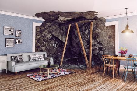 부분적으로 파괴 된 내부. 3d 렌더링 그림 개념