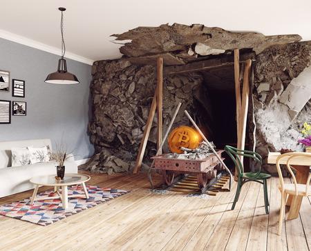 Bitcoin-mijnbouw in het interieur van de woonkamer. 3d teruggevend illustratieconcept