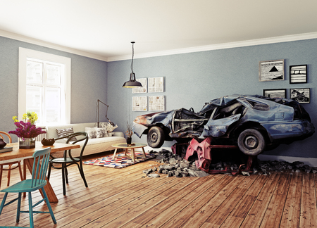 The broken car in the room. 3d concept. Rendering