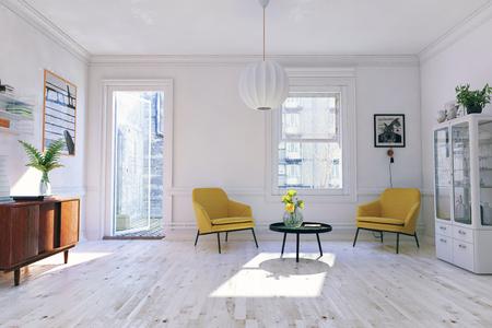 현대적인 인테리어. 스칸디나비아 디자인 스타일. 3d 렌더링 그림 개념 스톡 콘텐츠