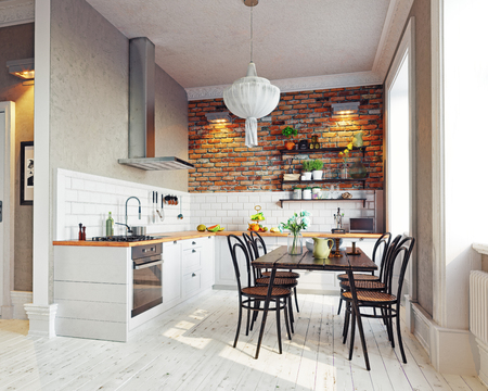 modern kitchen  interior. Scandinavian style design. 3d rendering concept