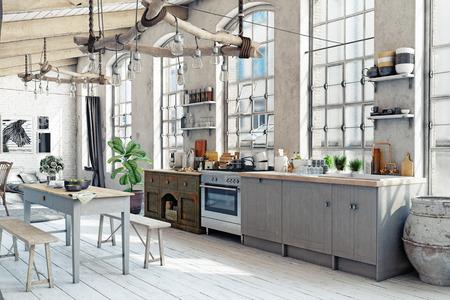 Ático loft cocina interior. Concepto de representación 3D Foto de archivo