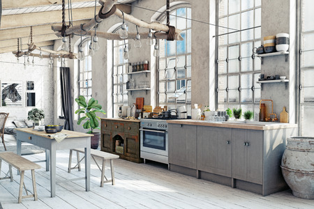 Zolder loft keuken interieur. 3D-rendering concept