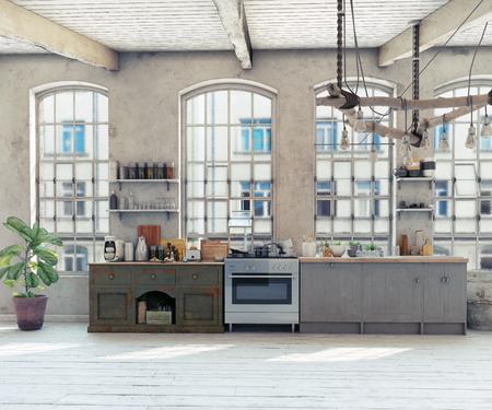 Attic loft kitchen interior. 3d rendering concept