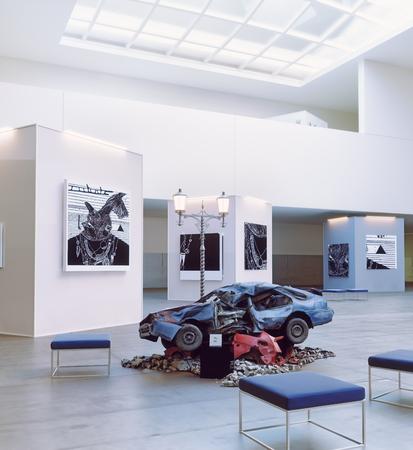 O carro caiu como um objeto da arte moderna. Conceito de humor. Renderização em 3d Foto de archivo - 89935961