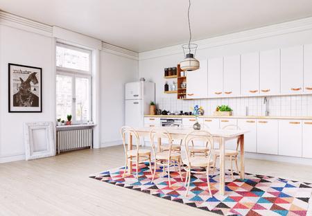 moderne keuken interieur. Ontwerp in Scandinavische stijl. 3D-rendering concept