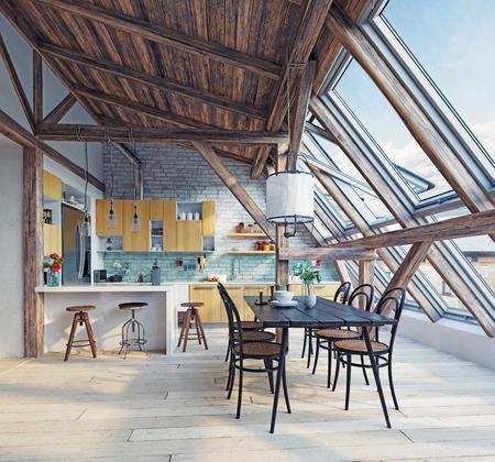 Moderne Dachgeschossküche. Konzept der Wiedergabe 3d Standard-Bild - 89958612