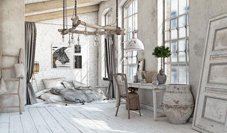 스칸디나비아 스타일의 인테리어. 침실 다락방. 3 차원 렌더링 스톡 콘텐츠