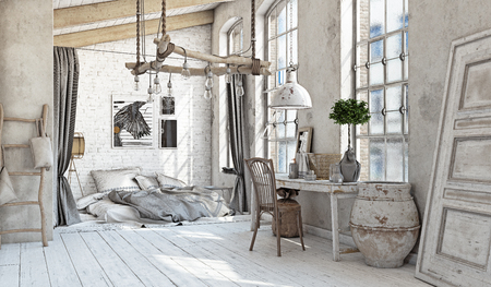Scandinavian style interior. Bedroom attic. 3d rendering Archivio Fotografico