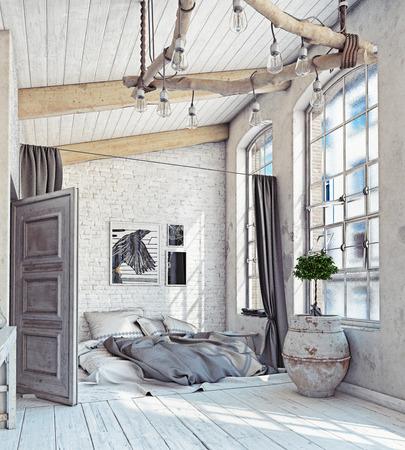 Interior de estilo escandinavo. Dormitorio ático. Representación 3D Foto de archivo