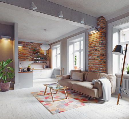 modern apartment  interior. Scandinavian style design. 3d rendering concept Stock Photo