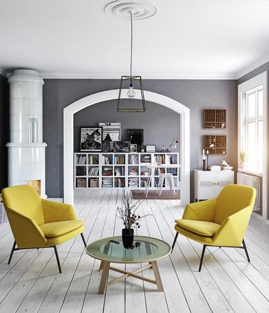 The Modern interior. Scandinavian design style. 3d rendering illustration concept