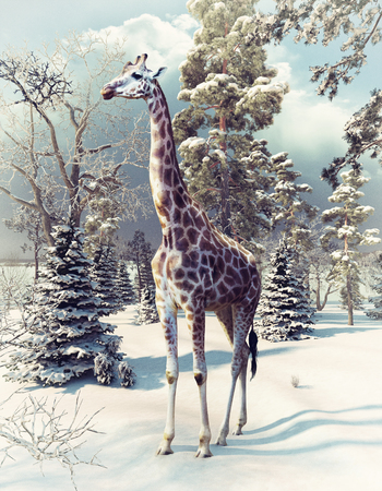 giraffe in the winter forest. 3d render elements and photo mixed.