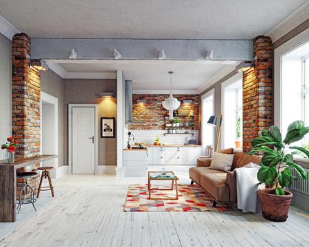 Moderne Wohnung Interieur. Skandinavisches Design. Konzept der Wiedergabe 3d Standard-Bild - 89840497