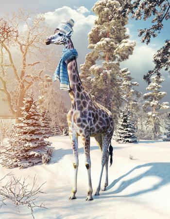 겨울 숲에서 기린입니다. 3d 렌더링 요소 및 사진 혼합.