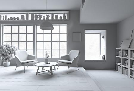 Modern interior. White rendering concept. 3d illustration