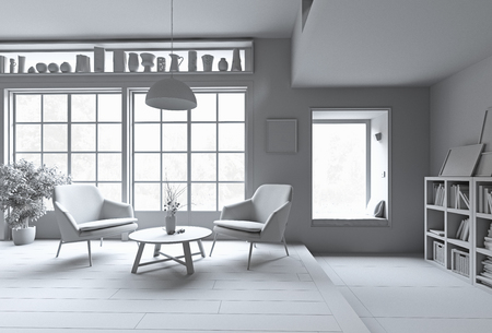 Modern interior. White rendering concept. 3d illustration