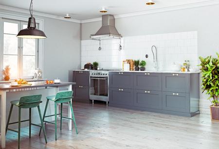 현대 부엌 인테리어입니다. 스칸디나비아 스타일의 디자인. 3d 렌더링 개념