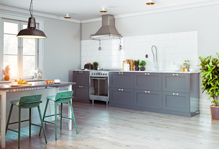 Modern kitchen interior. Scandinavian style design. 3d rendering concept Stockfoto
