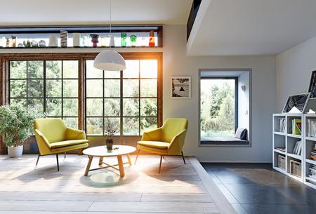 Modern interior rendering concept. 3d illustration Stock Photo