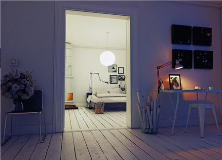 クラシックなスウェーデン語で夜のモダンなアパートメントはストーブ。3 d の概念のレンダリング 写真素材
