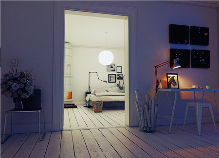 night modern apartment with  classic  swedish stove. 3d concept rendering