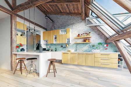 modern attic kitchen  interior. 3d rendering concept