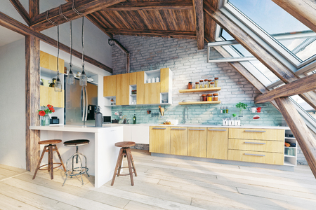 modern attic kitchen  interior. 3d rendering concept Stock fotó - 89851238