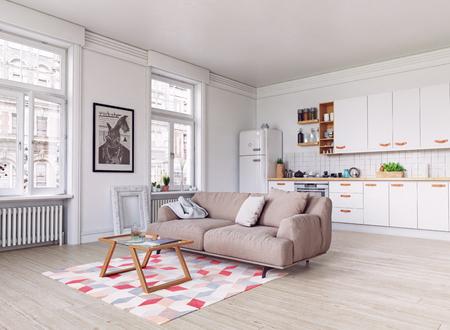 modern keukenbinnenland. Ontwerp in Scandinavische stijl. 3D-rendering concept