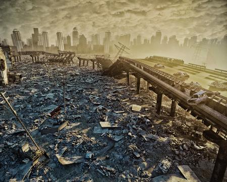 Ruïnes van de stad. Apocalyptisch landscape.3d illustratieconcept
